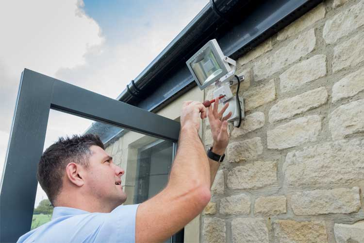 home security outdoor lighting installation