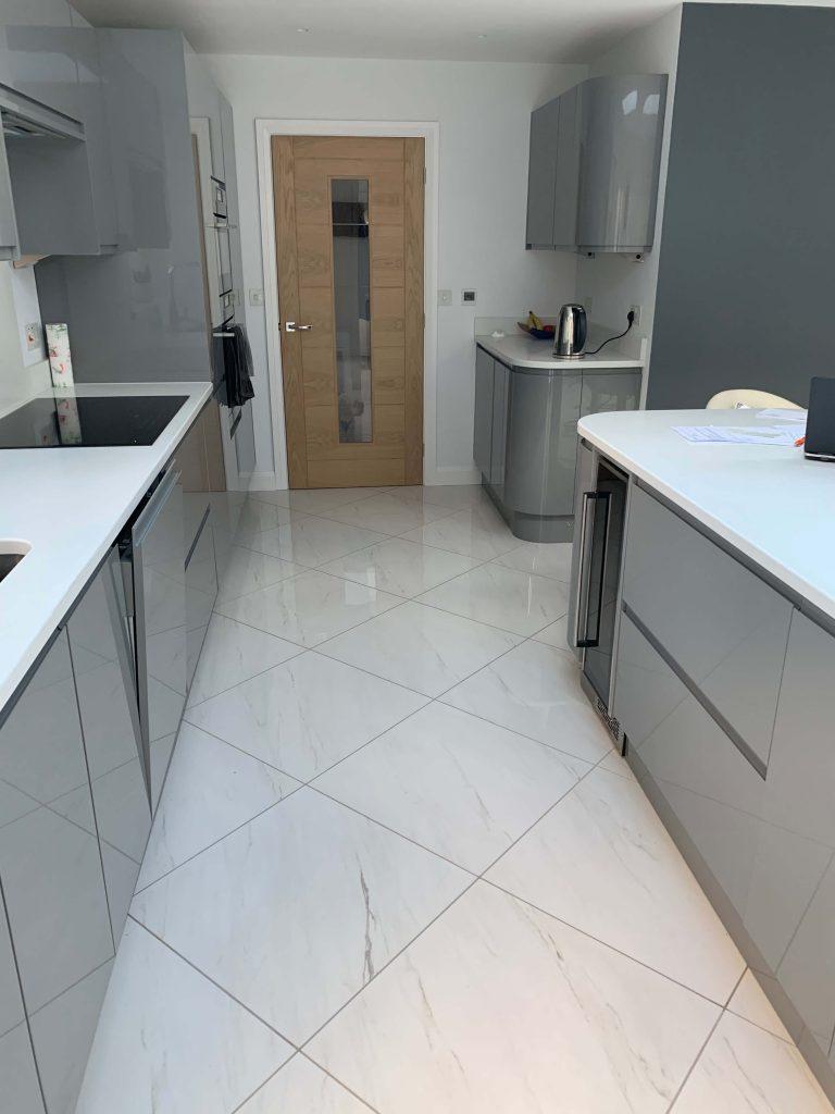 Kitchen with underfloor heating installed