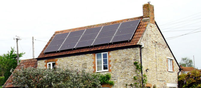 Solar photovoltaic panels in domestic roof